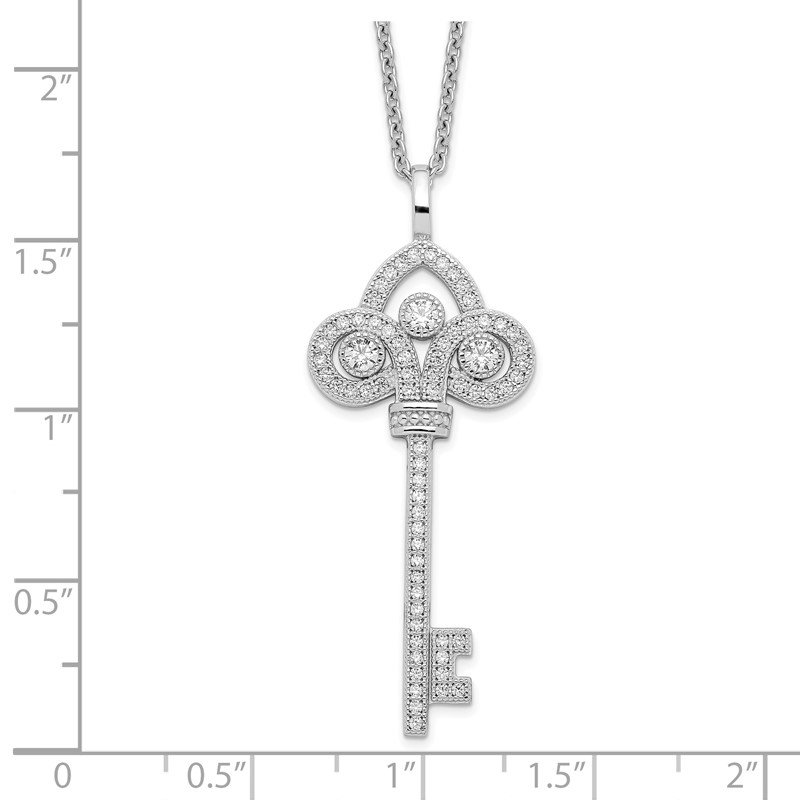 Quality Gold Sterling Silver Brilliant Embers Rhodium-plated CZ Polished Key Necklace
