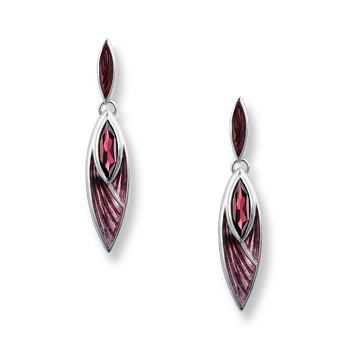 Sterling Silver Pinnacle Earrings-Lavendar, Rhodolite