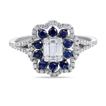 14K FLOWER DESIGN RING WITH 10 SAPPHIRES 0.46CT & 71 DIAMONDS 0.40CT