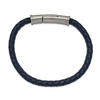 Stainless Steel Brushed Braided Blue Leather 8.25in Bracelet