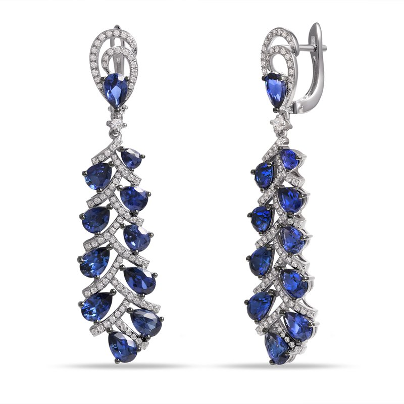 Shula NY Dramatic long Sapphire and and Diamond Earrings  .22 SAPPHIRES 9.44CT Plus 182 Diamonds 0.89CT