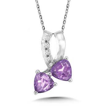 Trillion-Cut Amethyst and Diamond Bypass Pendant