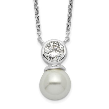 Sterling Silver CZ and Glass Pearl Necklace
