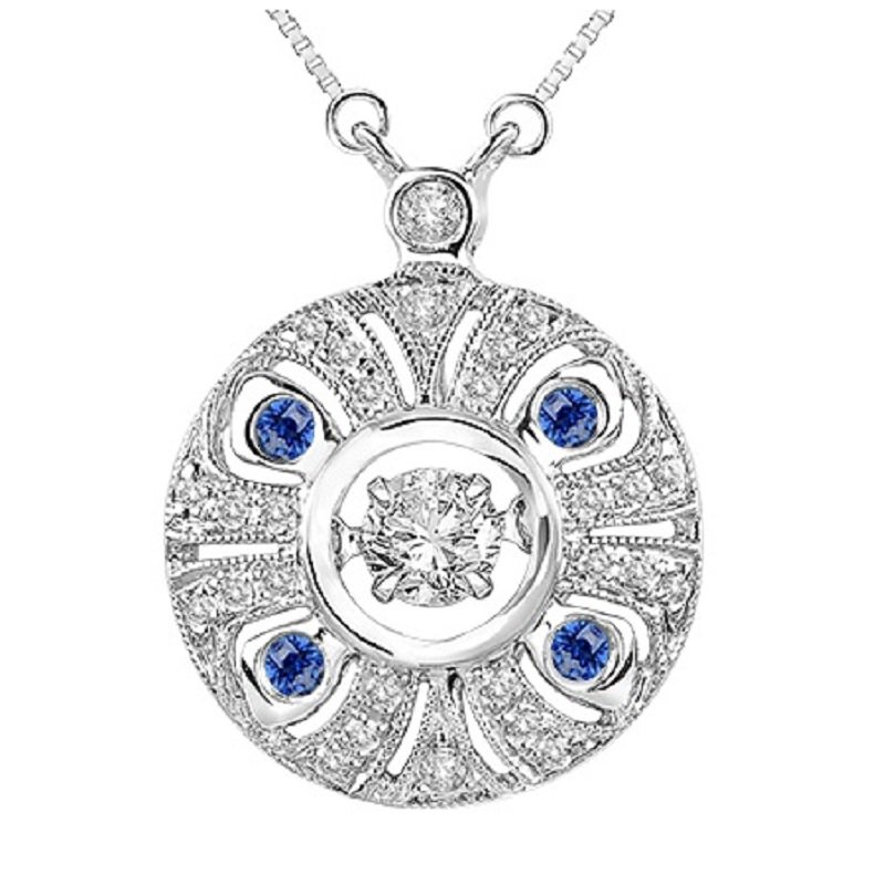 Necker's Signature Collection 14K Sapphire & Diamond Rhythm Of Love Pendant