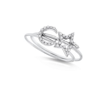 Diamond Stackable Set Star and Moon Rings in 14K White Gold with 32 Diamonds Weighing .11ct tw.