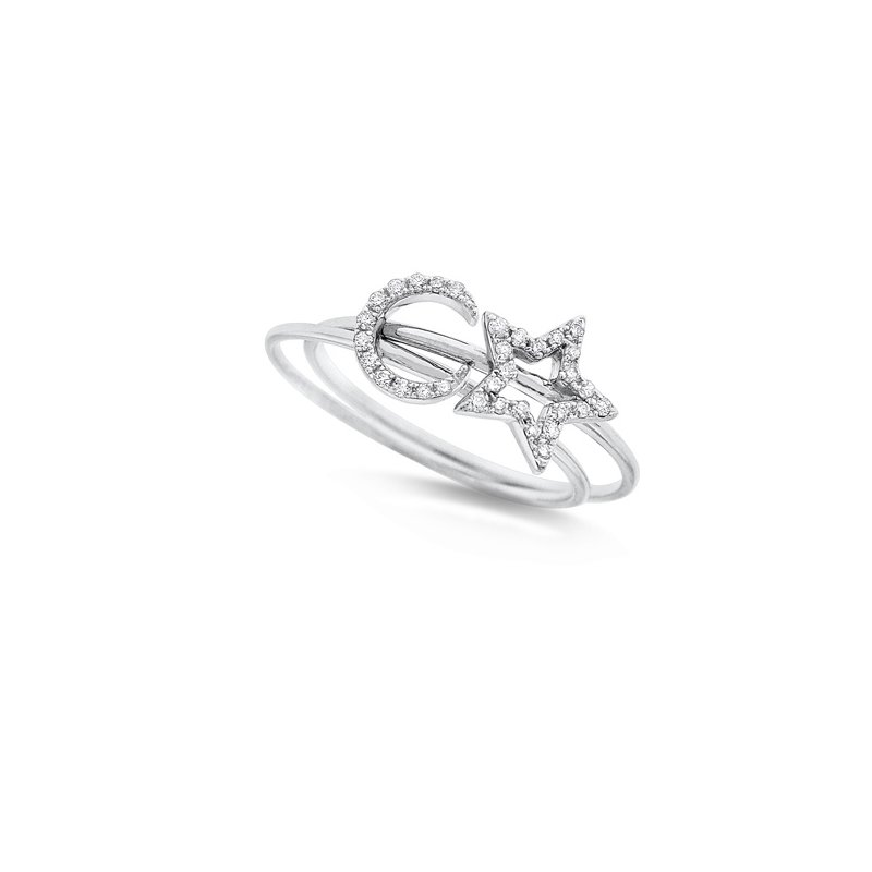 KC Designs Diamond Stackable Set Star and Moon Rings in 14K White Gold with 32 Diamonds Weighing .11ct tw.