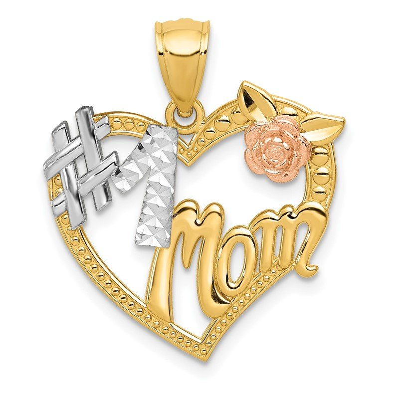 Quality Gold 14k Two-tone w/White Rhodium #1 MOM Heart Pendant