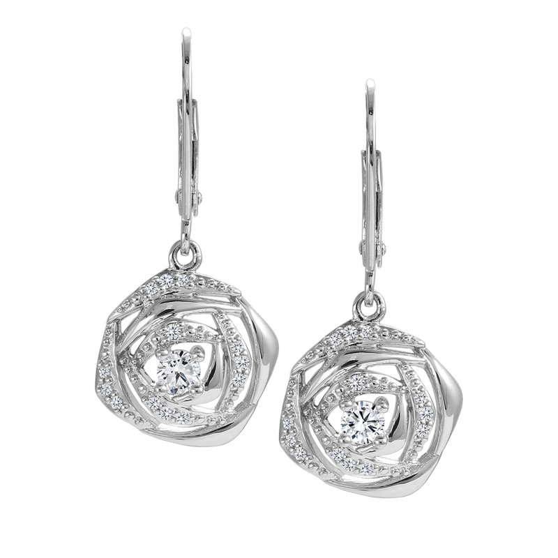 Rose Diamond Drop Earrings