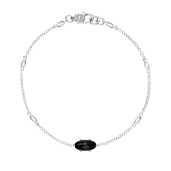 Solitaire Oval Gem Bracelet with Black Onyx