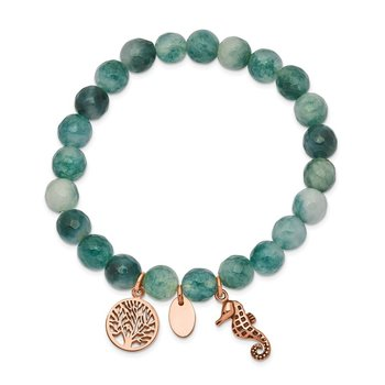 Stainless Steel Antiqued & Polished Rose IP Seahorse Green Dyed Jade Bracel