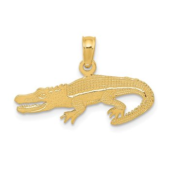 14K Textured Alligator Pendant