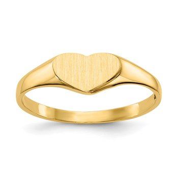 14k 5.5x7.5mm Closed Back Heart Signet Ring