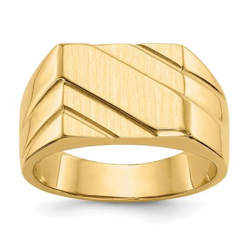 14k 13.0x11.0mm Open Back Diagonal Mens Signet Ring