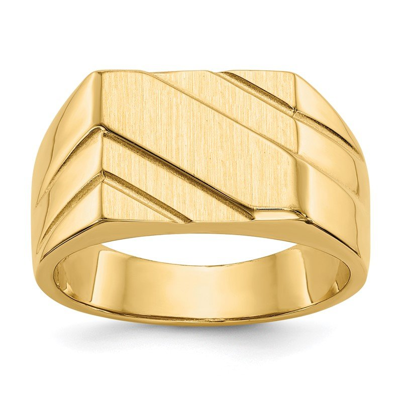 Quality Gold 14k 13.0x11.0mm Open Back Diagonal Mens Signet Ring