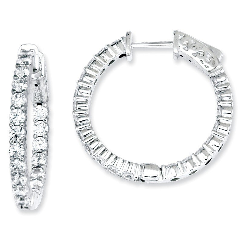 Quality Gold Sterling Silver CZ 40 Stones In and Out Round Hoop Earrings