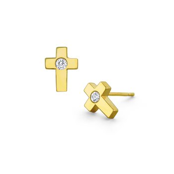14k Gold and Diamond Cross Stud Earrings