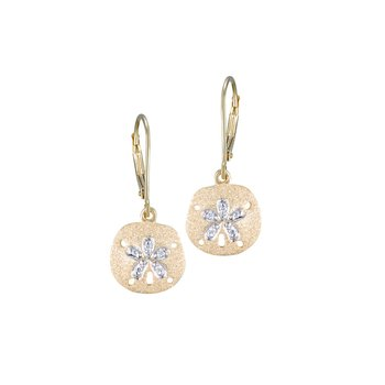 Yellow Gold Sanddollar Leverback Earrings
