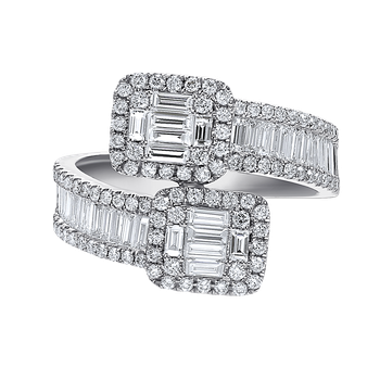 14K overlap ring 96 round diamonds 0.54C & 24 baguette diamonds 0.91C