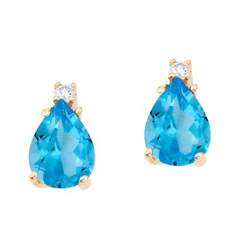 14k Yellow Gold Pear Shaped Blue Topaz and Diamond Earrings