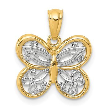 14K and White Rhodium Polished Butterfly Pendant