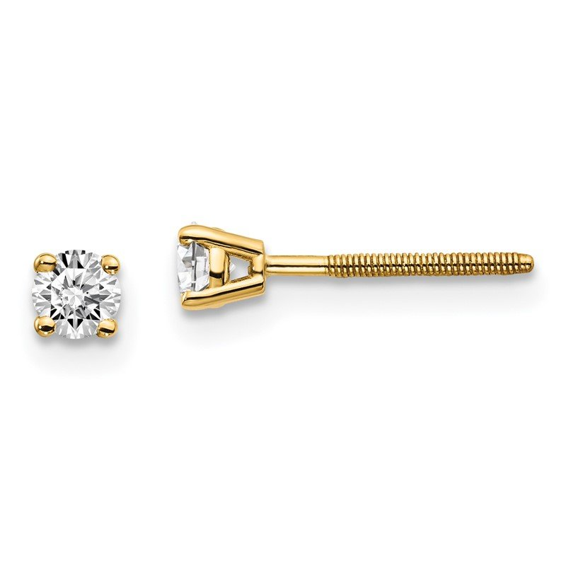 Quality Gold 14ky .10ct. VS2/SI1 G-I Diamond Stud Thread on/off Post Earrings
