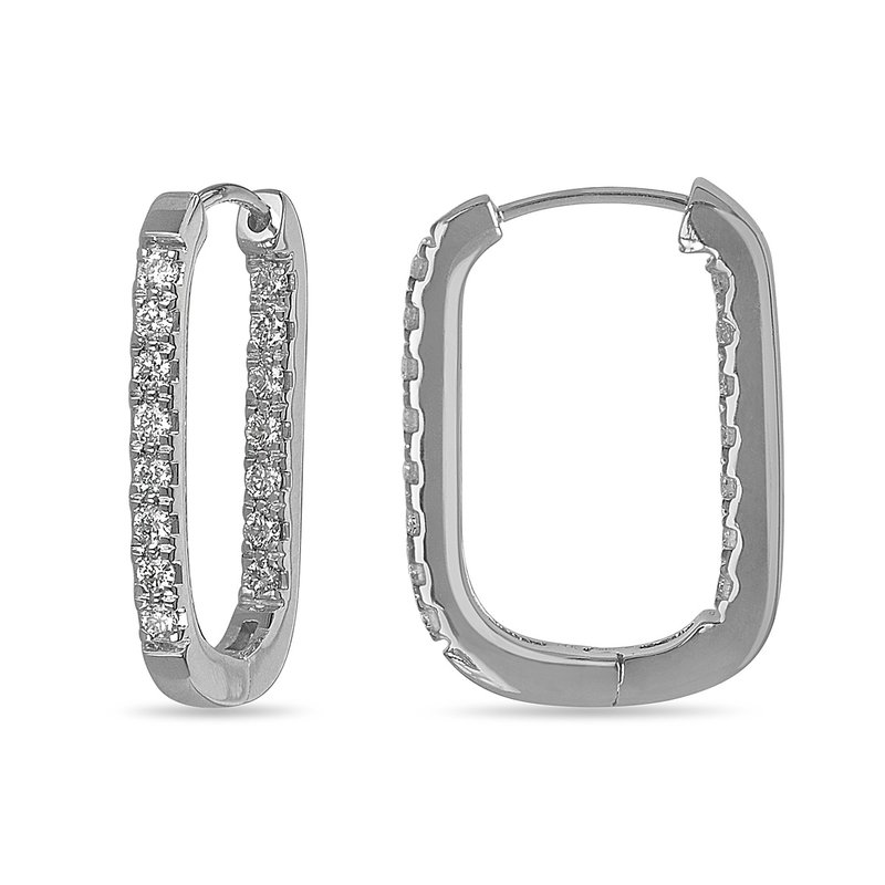 BB Impex 14K WG and diamond one row inside and outside Rectangular Huggy Earrings (0.25 Cts)