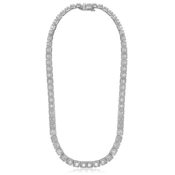 Asscher Diamond Halo Necklace