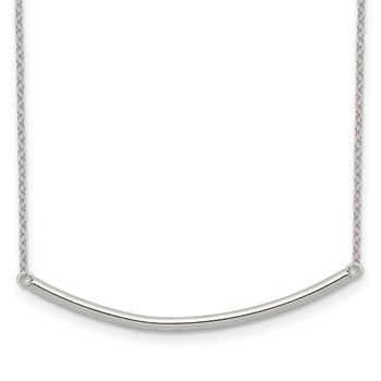 Sterling Silver Polished w/1 inch ext. Bar Necklace