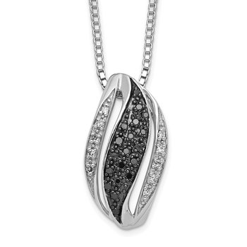 Sterling Silver Rhod Plated Black and White Diamond Pendant Necklace