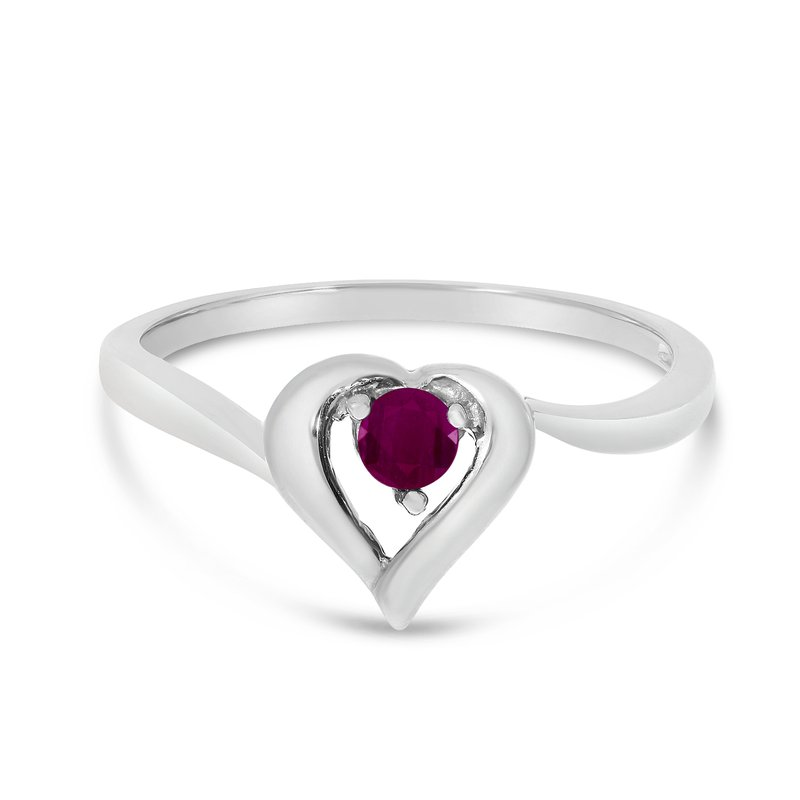 Color Merchants 10k White Gold Round Ruby Heart Ring