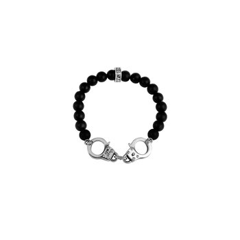 8Mm Onyx Bead Bracelet With Handcuffs