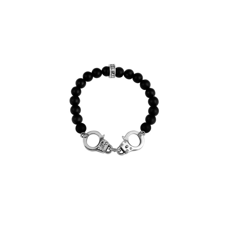 King Baby 8Mm Onyx Bead Bracelet With Handcuffs