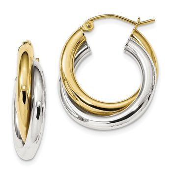 10k Two-tone Polished Double Tube Hoop Earrings