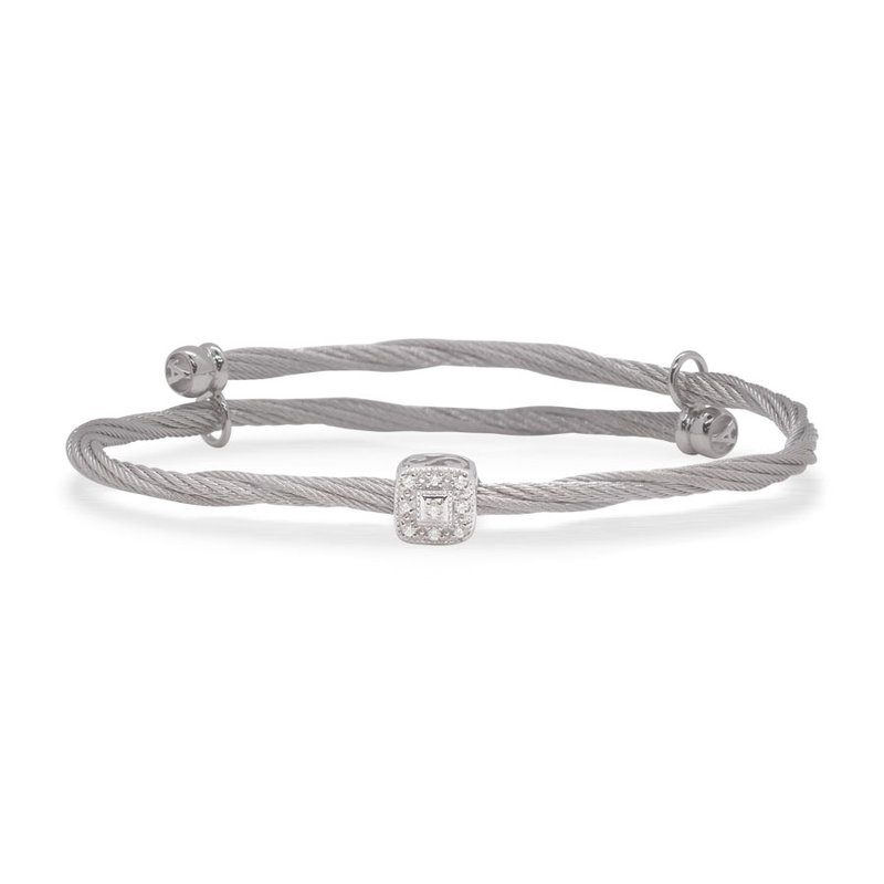 ALOR Flex Bracelet with Square Diamond Station set in 18kt White Gold