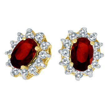 10k Yellow Gold Oval Garnet and .25 total ct Diamond Earrings