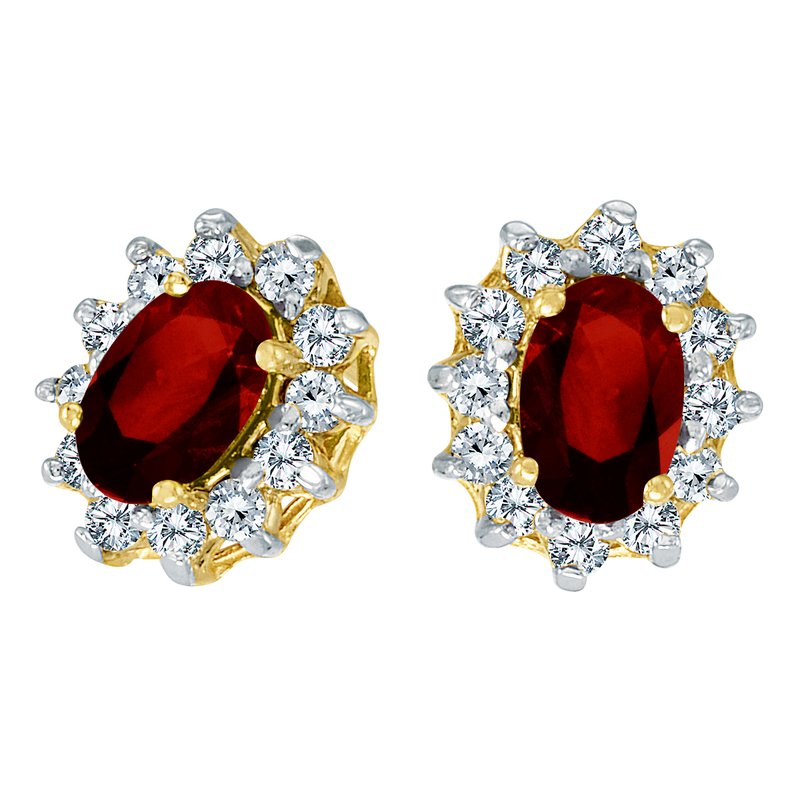 Color Merchants 10k Yellow Gold Oval Garnet and .25 total ct Diamond Earrings