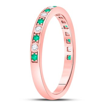 10kt Rose Gold Womens Round Emerald Diamond Alternating Stackable Band Ring 1/4 Cttw
