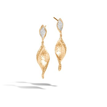 Classic Chain Wave Drop Earring, Hammered 18K Gold, Diamonds