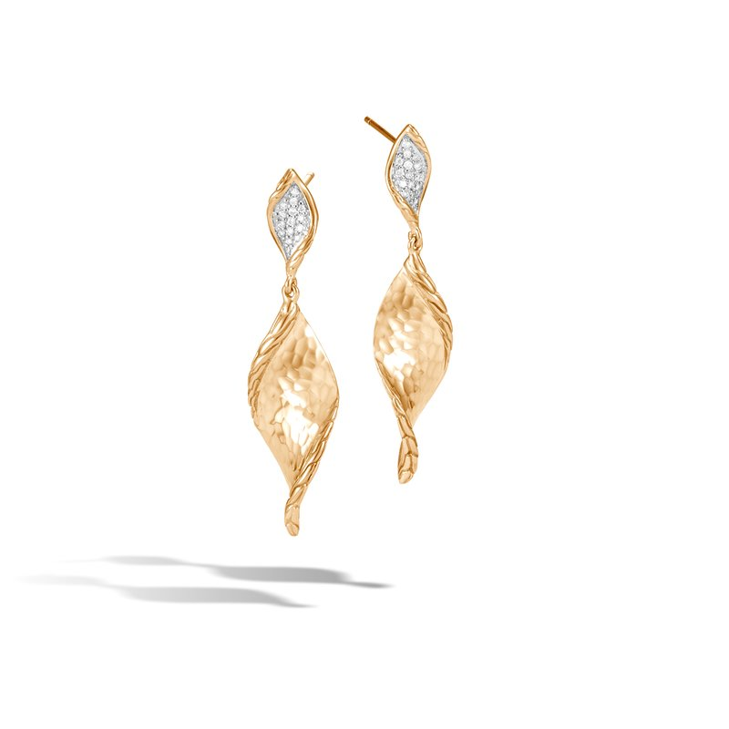 John Hardy Classic Chain Wave Drop Earring, Hammered 18K Gold, Diamonds