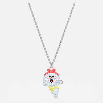 Line Friends Healthy Necklace, Light multi-colored, Rhodium plated