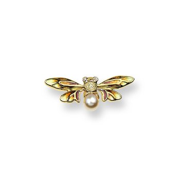 Yellow Bee Lapel Pin.18K -Diamonds and Akoya Pearl - Plique-a-Jour