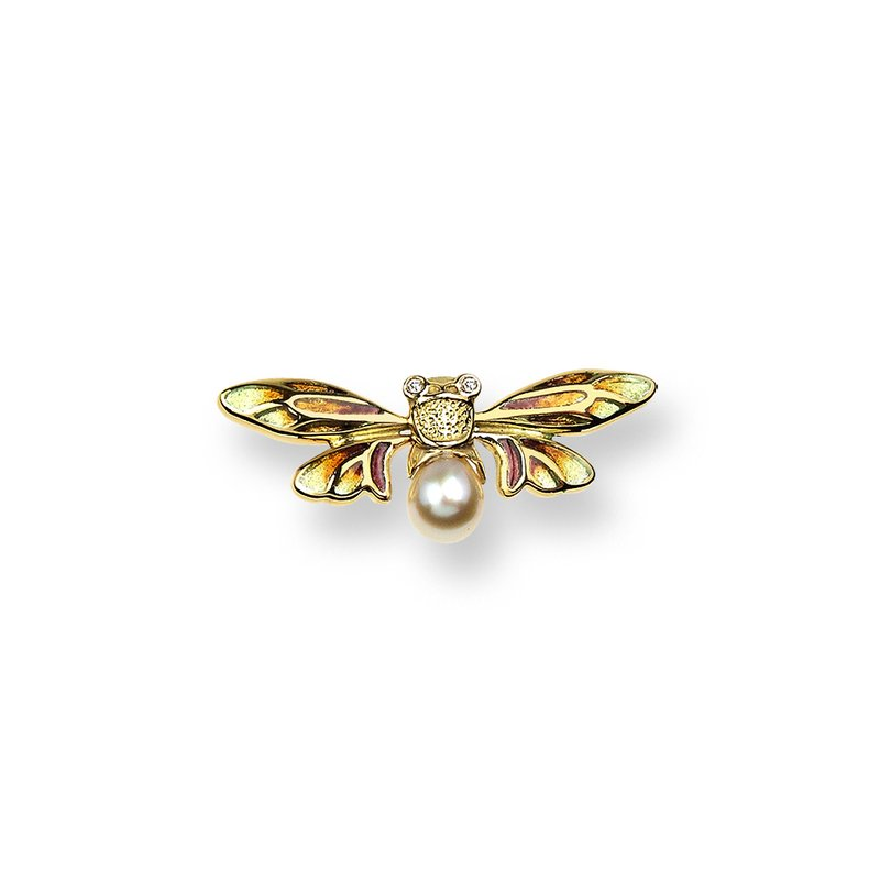 Nicole Barr Designs Yellow Bee Lapel Pin.18K -Diamonds and Akoya Pearl - Plique-a-Jour