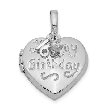 Sterling Silver Rhodium-plated Heart Happy 16th Birthday with CZ Locket