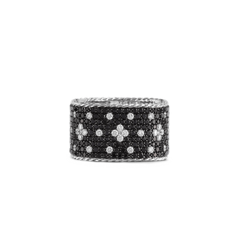 18KT GOLD WIDE RING WITH BLACK AND WHITE FLEUR DE LIS DIAMONDS