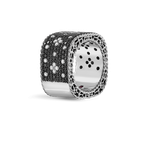 Roberto Coin Wide Ring With Black And White Fleur De Lis Diamonds