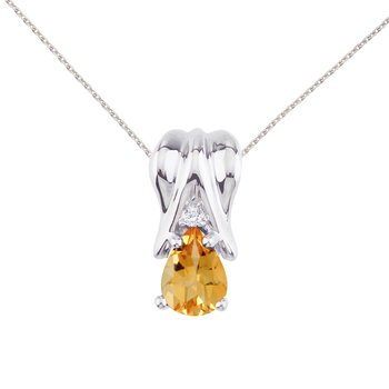 14k White Gold Citrine and Diamond Pear Shaped Pendant