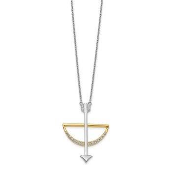 14k Two-tone Diamond Bow and Arrow 18 inch Necklace