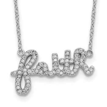 Sterling Silver Rhodium-plated CZ FAITH w/1in ext Necklace