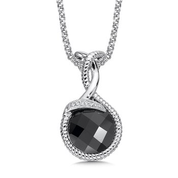 Sterling Silver Diamond & Onyx Pendant