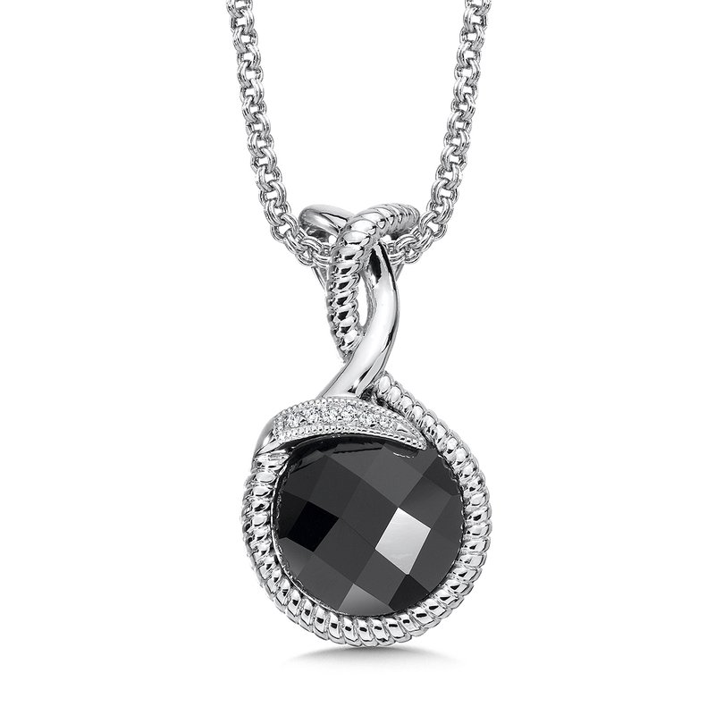 Colore Sg Sterling Silver Diamond & Onyx Pendant